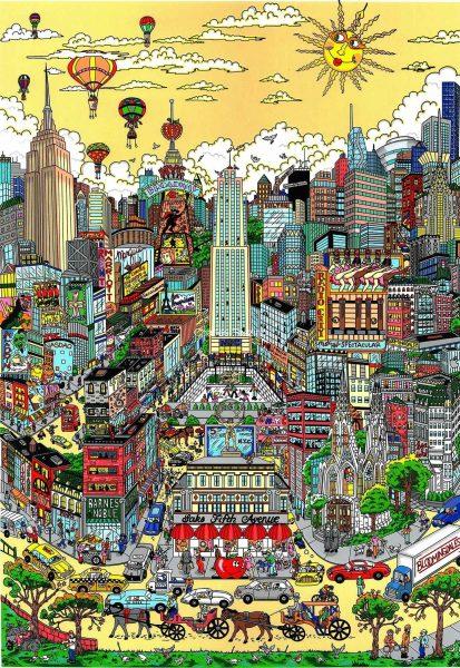 fazzino-cityscape-art-Pigeons-Droppin-NYC