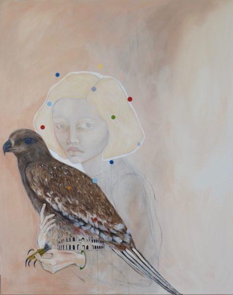 Pige med fugl 120X150