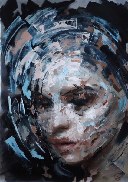 Mind & Matter1 106x78cm olie på håndlavet papir ramme med glas